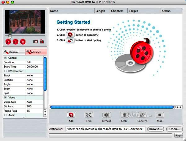 3herosoft DVD to FLV Converter for Mac Screenshot 3