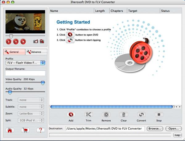 3herosoft DVD to FLV Converter for Mac Screenshot 1