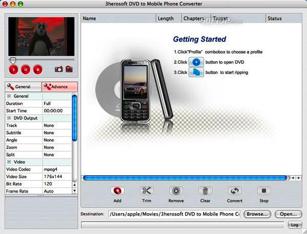 3herosoft DVD to Mobile Phone Converter for Mac Screenshot 3
