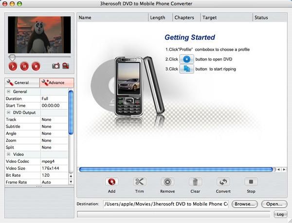 3herosoft DVD to Mobile Phone Converter for Mac Screenshot