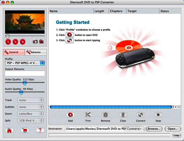 3herosoft DVD to PSP Converter for Mac Screenshot 3