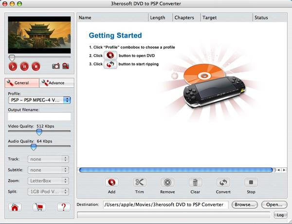 3herosoft DVD to PSP Converter for Mac Screenshot