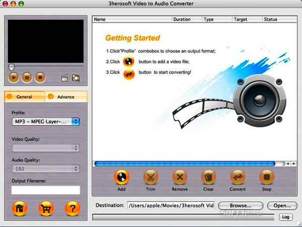 3herosoft Video to Audio Converter for Mac Screenshot 3