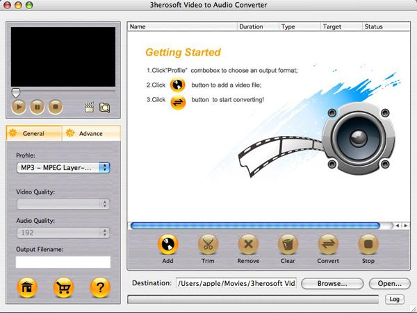 3herosoft Video to Audio Converter for Mac Screenshot