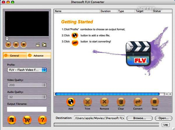 3herosoft FLV Converter for Mac Screenshot 3
