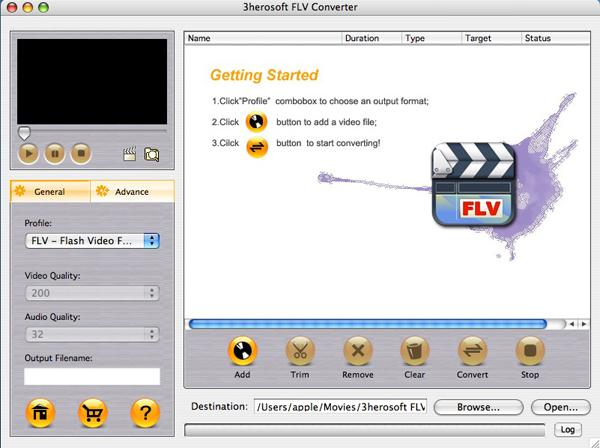 3herosoft FLV Converter for Mac Screenshot