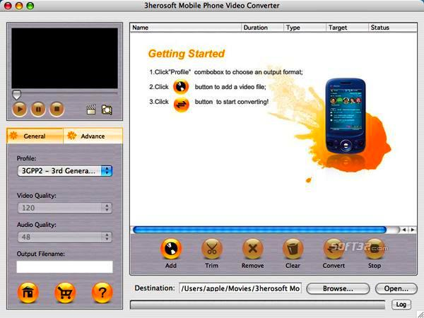 3herosoft Mobile Phone Video Converter for Mac Screenshot 3