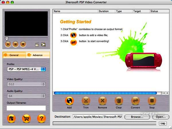 3herosoft PSP Video Converter for Mac Screenshot 3