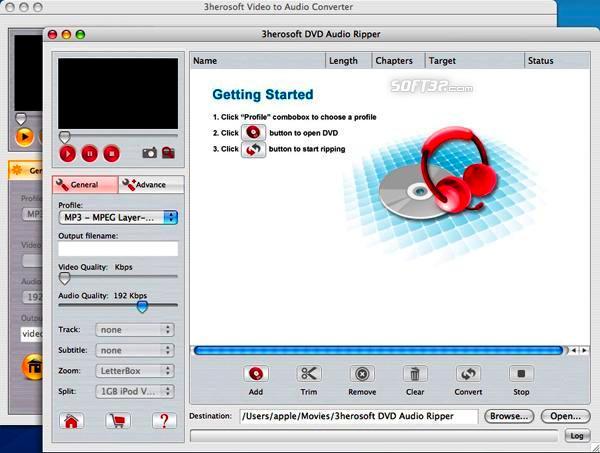 3herosoft DVD to Audio Suite for Mac Screenshot 3