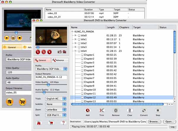 3herosoft DVD to BlackBerry Suite for Mac Screenshot