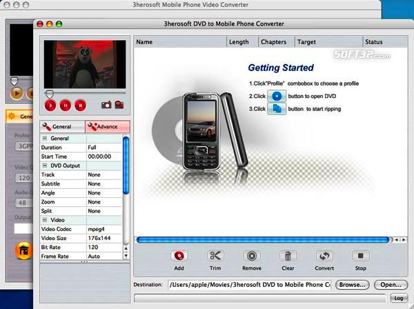 3herosoft DVD to Mobile Phone Suite for Mac Screenshot 3