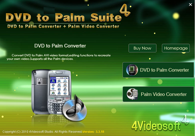 4Videosoft DVD to Palm Suite Screenshot