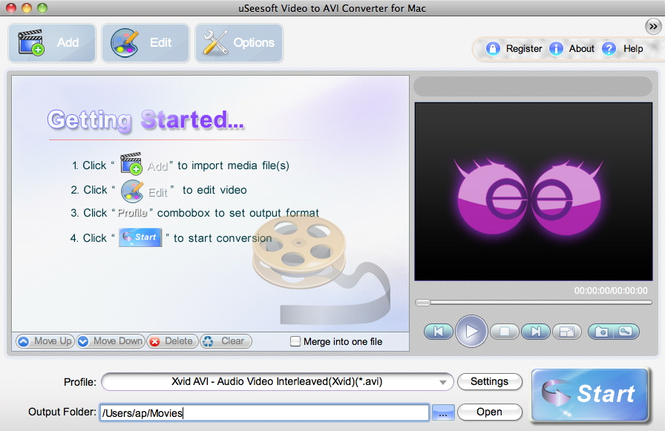 uSeesoft Video to AVI Converter for Mac Screenshot