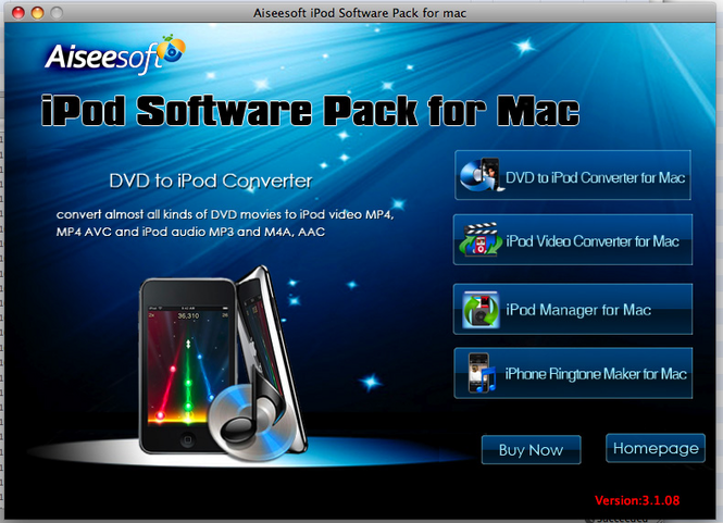 Aiseesoft iPod Software Pack for Mac Screenshot