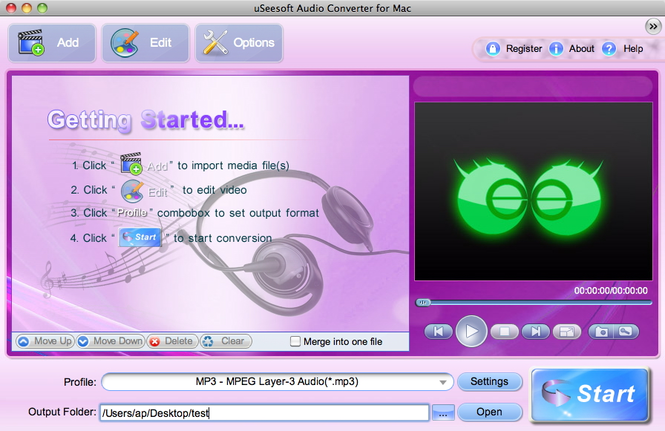 uSeesoft Audio Converter for Mac Screenshot