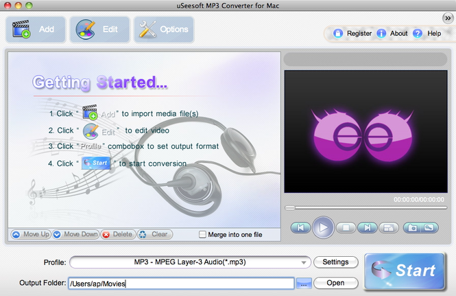 uSeesoft MP3 Converter for Mac Screenshot 1