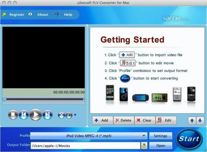 uSeesoft FLV Converter for Mac Screenshot 2