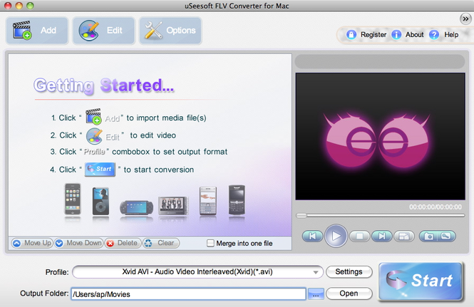uSeesoft FLV Converter for Mac Screenshot