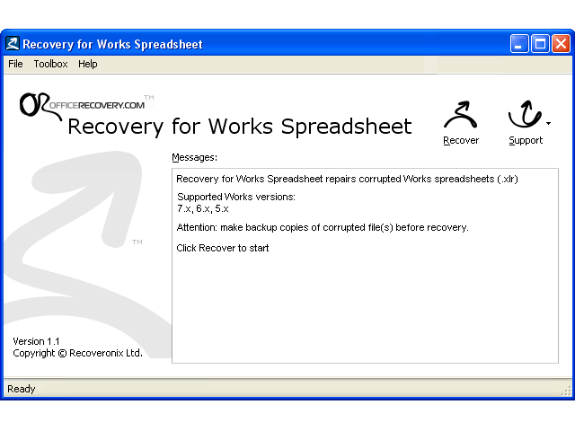 Recovery for Works Spreadsheet Screenshot
