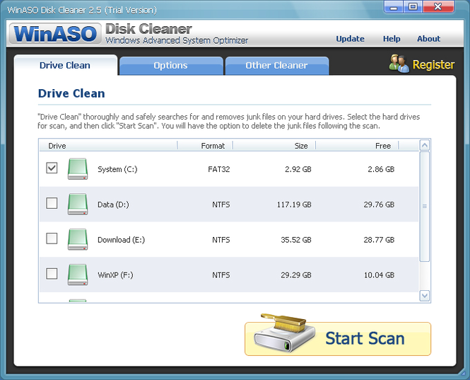 WinASO Disk Cleaner Screenshot 1