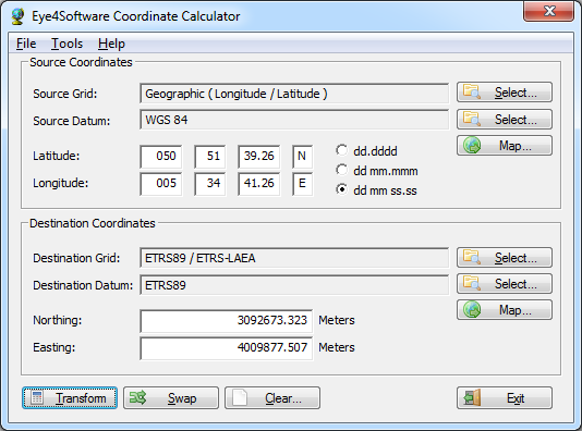 Eye4Software Coordinate Calculator Screenshot
