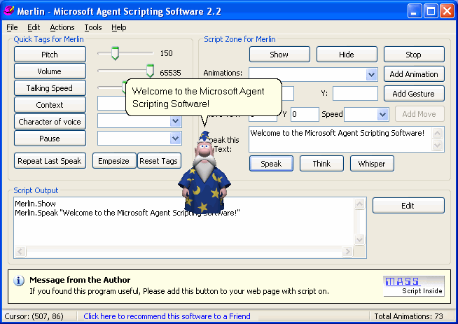 MS-Agent Scripting Software Screenshot