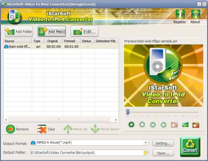 iStarSoft Video to iPod Converter Screenshot