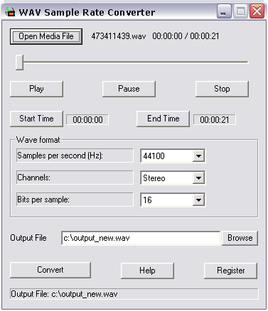 Wav Sample Rate Converter Screenshot