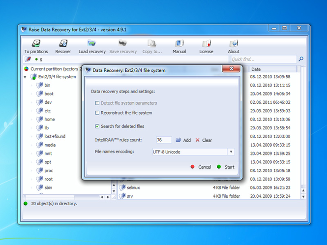 Raise Data Recovery for Ext2/Ext3 Screenshot