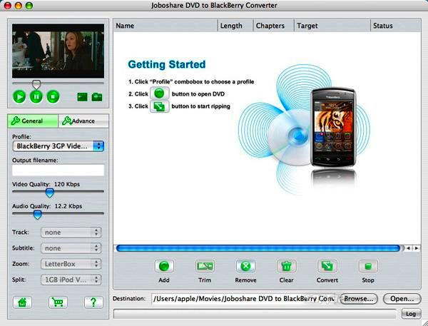 Joboshare DVD to BlackBerry Converter for Mac Screenshot 2
