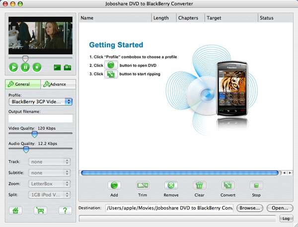 Joboshare DVD to BlackBerry Converter for Mac Screenshot