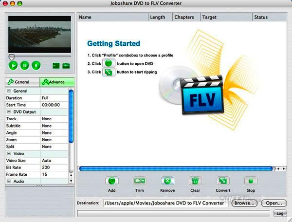 Joboshare DVD to FLV Converter for Mac Screenshot 2