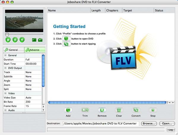 Joboshare DVD to FLV Converter for Mac Screenshot