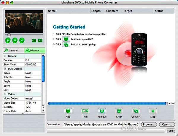 Joboshare DVD to Mobile Phone Converter for Mac Screenshot 2