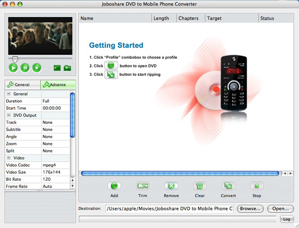 Joboshare DVD to Mobile Phone Converter for Mac Screenshot