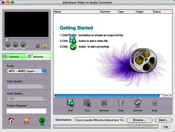 Joboshare Video to Audio Converter for Mac Screenshot 2