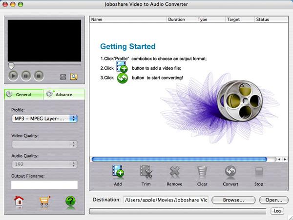 Joboshare Video to Audio Converter for Mac Screenshot