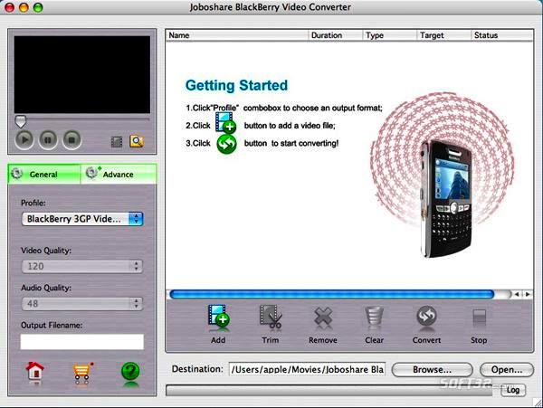 Joboshare BlackBerry Video Converter for Mac Screenshot 2