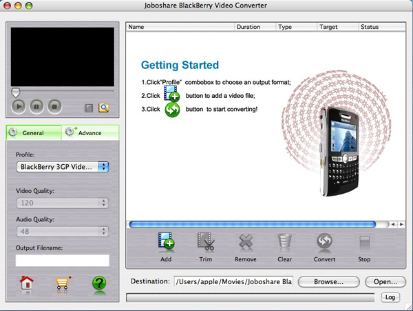 Joboshare BlackBerry Video Converter for Mac Screenshot