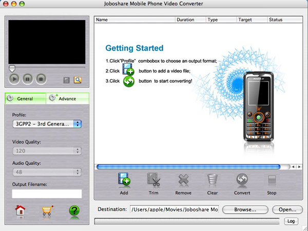 Joboshare Mobile Phone Video Converter for Mac Screenshot