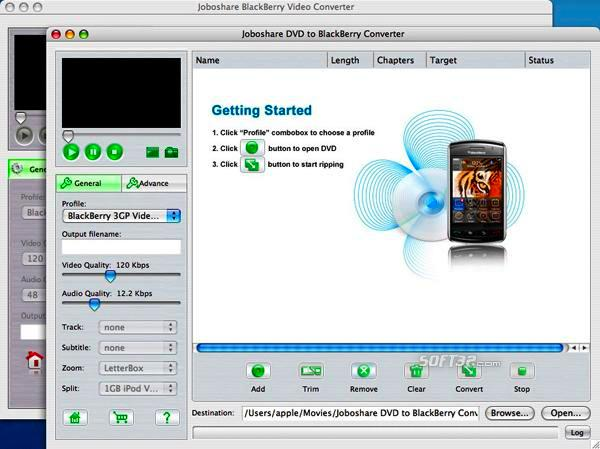 Joboshare DVD to BlackBerry Bundle for Mac Screenshot 2