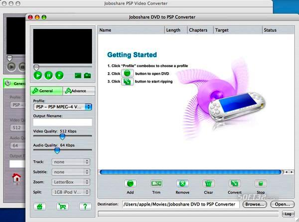 Joboshare DVD to PSP Bundle for Mac Screenshot 2