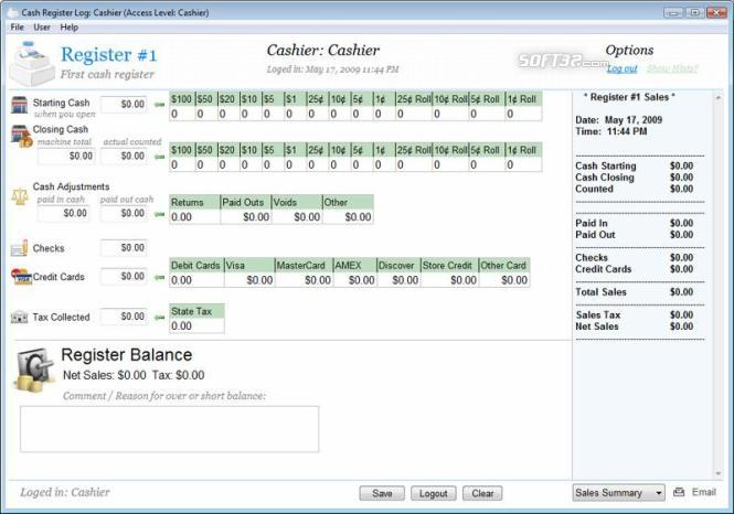 Cash Register Log Screenshot 2