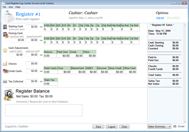 Cash Register Log Screenshot 1