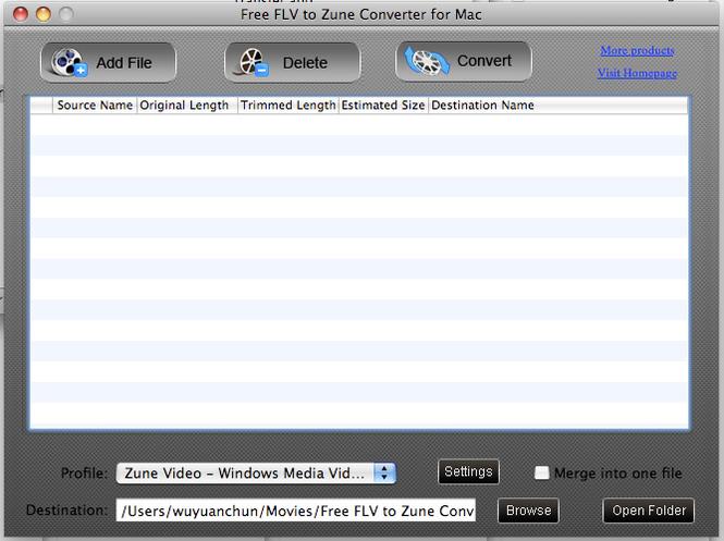 Free FLV to Zune Converter for Mac Screenshot 1
