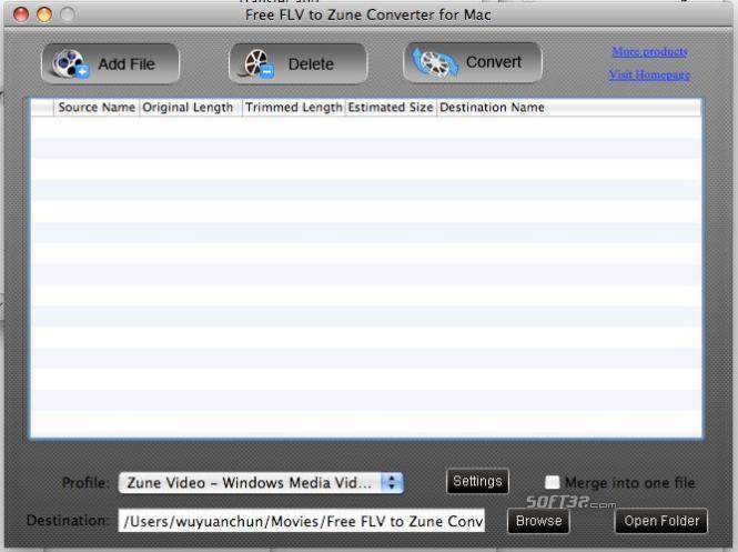 Free FLV to Zune Converter for Mac Screenshot 2
