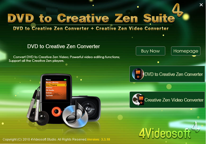4Videosoft DVD to Creative Zen Suite Screenshot 1