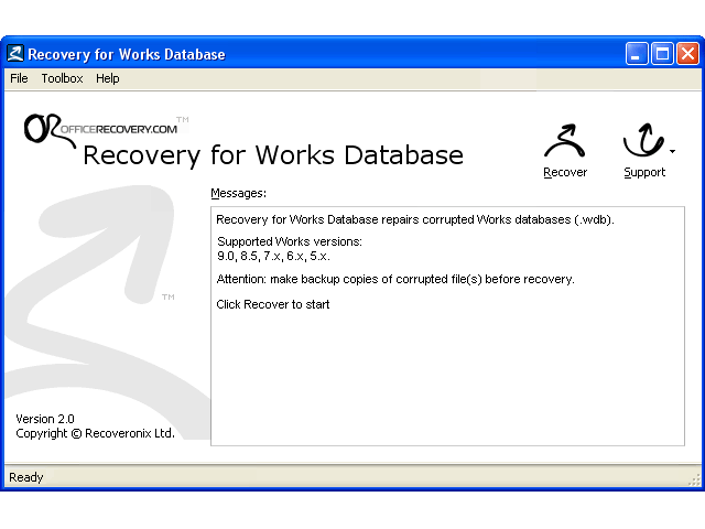 Recovery for Works Database Screenshot