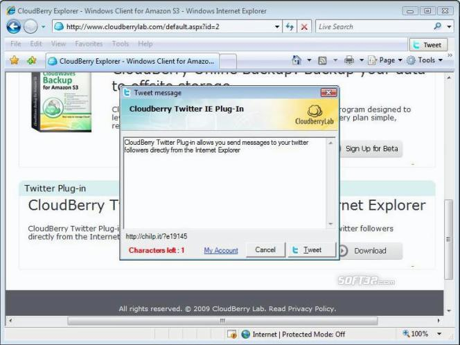 CloudBerry Twitter plug-in for IE Screenshot 2