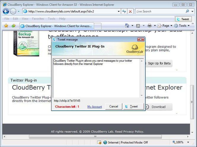CloudBerry Twitter plug-in for IE Screenshot